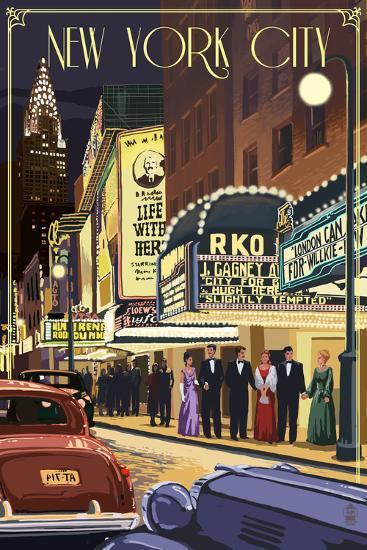 New York City, New York - Theater Scene-Lantern Press-Art Print