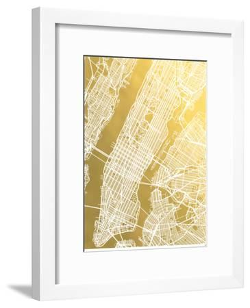 New York City No Caps-The Gold Foil Map Company-Framed Art Print