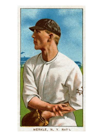 New York City, NY, New York Giants, Fred Merkle, Baseball Card-Lantern Press-Art Print