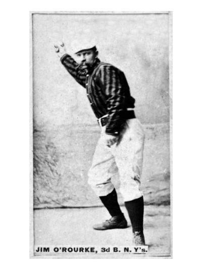 New York City, NY, New York Giants, Jim O'Rourke, Baseball Card-Lantern Press-Art Print
