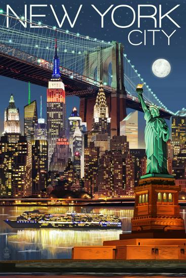New York City, NY - Skyline at Night-Lantern Press-Art Print