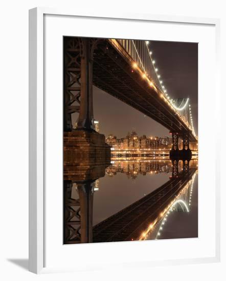New York City Skyline and Manhattan Bridge at Night-Zigi-Framed Photographic Print