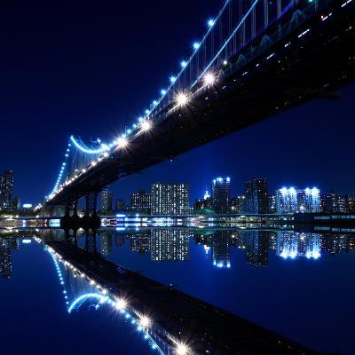 New York City Skyline and Manhattan Bridge at Night-Zigi-Photographic Print