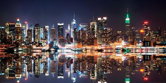 New York City Skyline At Night Art Print Deng Songquan Art Com