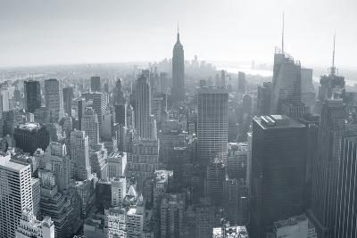 New York City Skyline Black and White in Midtown Manhattan Aerial Panorama View in the Day.-Songquan Deng-Photographic Print