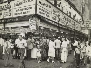 New York City Street Corner with Customers Ordering and Eating Nathan's Hot Dogs