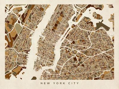 New York City Street Map-Michael Tompsett-Art Print