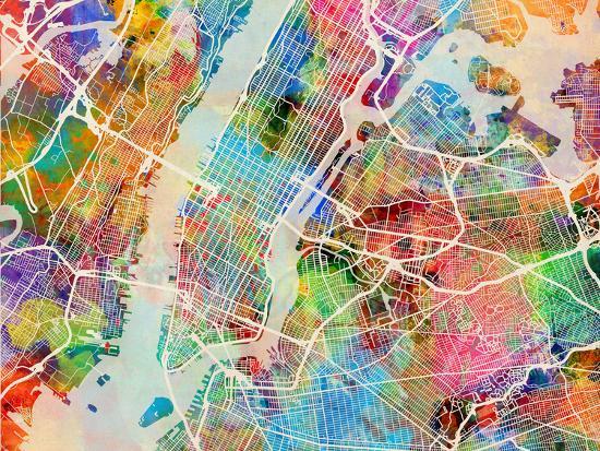 A Map Of New York City.New York City Street Map Art Print By Michael Tompsett Art Com