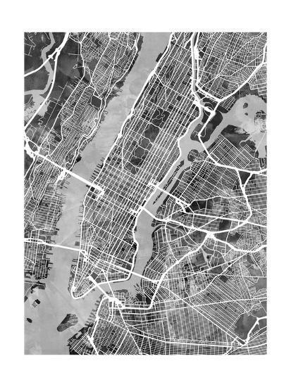 Street Map Of New York.New York City Street Map Photographic Print By Michael Tompsett