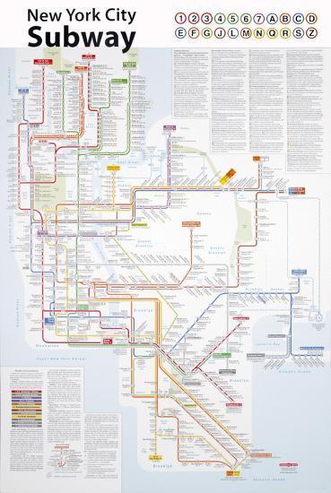 City Subway Map Art.New York City Subway Map Art Print By John Tauranac Art Com
