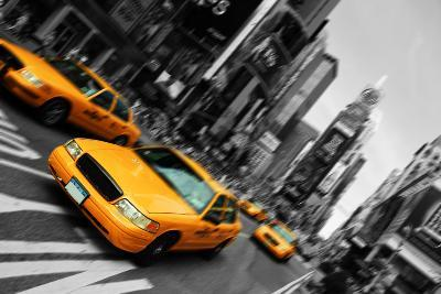 New York City Taxi, Blur Focus Motion, times Square-upthebanner-Photographic Print