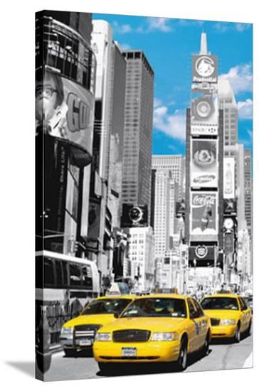 New York City (Taxis in Times Square) Art Poster Print--Stretched Canvas Print