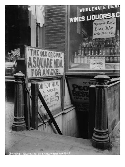 New York City, the Bowery, Entrance to a Five Cent Restaurant, 1910s-1920s  Photo by | Art com