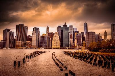 New York City View of Lower Manhattan Financial District under Dramatic Sky from across East River-Littleny-Photographic Print