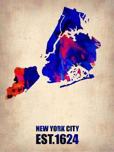 New York City Watercolor Map 1-NaxArt-Art Print