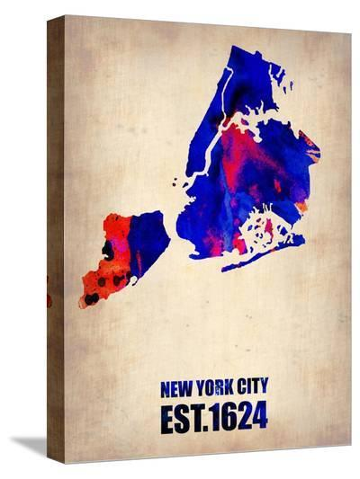 New York City Watercolor Map 1-NaxArt-Stretched Canvas Print
