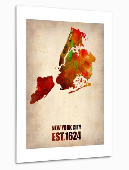 New York City Watercolor Map 2-NaxArt-Metal Print