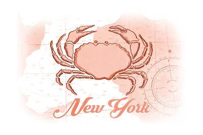 New York - Crab - Coral - Coastal Icon-Lantern Press-Art Print