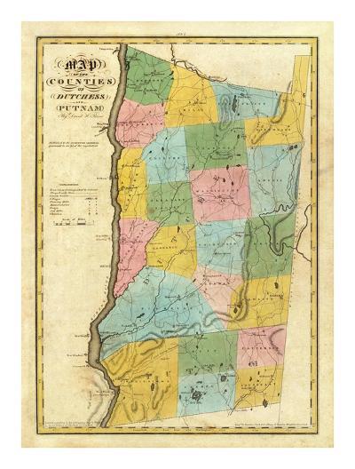 New York: Dutchess, Putnam Counties, c.1829-David H^ Burr-Art Print