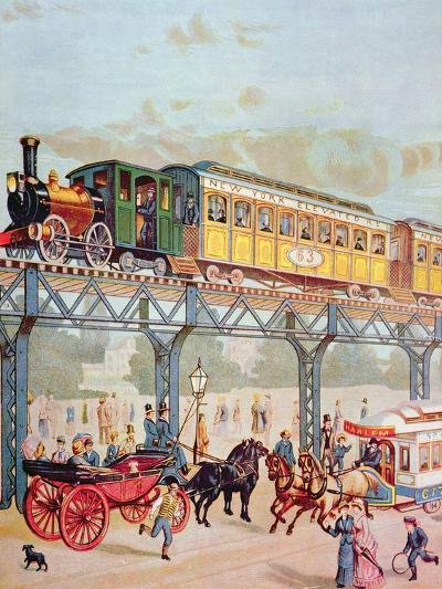 New York Elevated Railway, C.1880-American School-Giclee Print