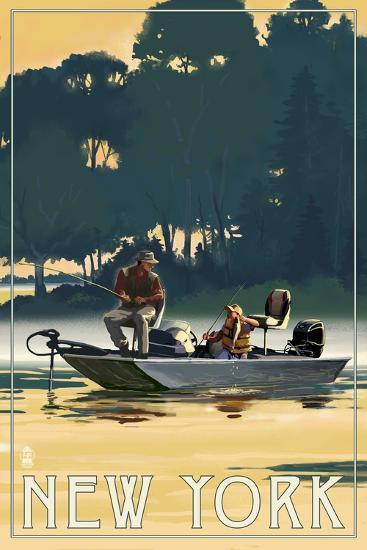 New York - Fishermen in Boat-Lantern Press-Art Print