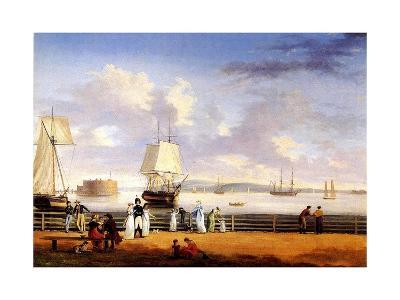 New York Harbour, C.1810-Thomas Birch-Giclee Print