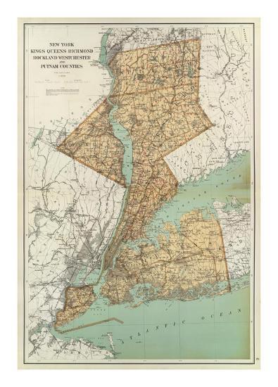 New York Kings Queens Richmond Rockland Westchester Putnam Counties C 1895 Art Print Joseph Rudolf Bien Art Com