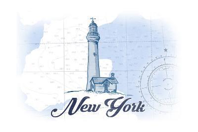 New York - Lighthouse - Blue - Coastal Icon-Lantern Press-Art Print