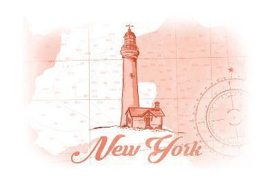 New York - Lighthouse - Coral - Coastal Icon-Lantern Press-Art Print