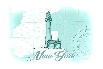New York - Lighthouse - Teal - Coastal Icon-Lantern Press-Art Print