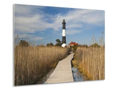 New York, Long Island, Fire Island, Robert Moses State Park, Fire Island Lighthouse, USA-Walter Bibikow-Metal Print