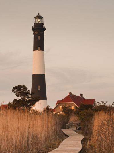 New York, Long Island, Fire Island, Robert Moses State Park, Fire Island Lighthouse, USA-Walter Bibikow-Photographic Print