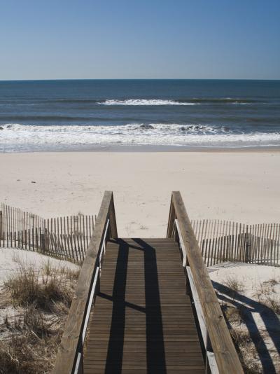 New York, Long Island, the Hamptons, Westhampton Beach, Beach View from Beach Stairs, USA-Walter Bibikow-Photographic Print