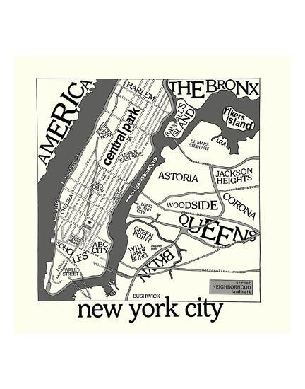 New York Map-Urban Cricket-Art Print