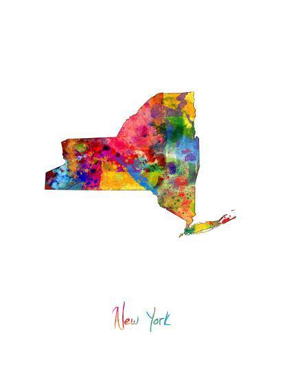 New York Map-Michael Tompsett-Art Print