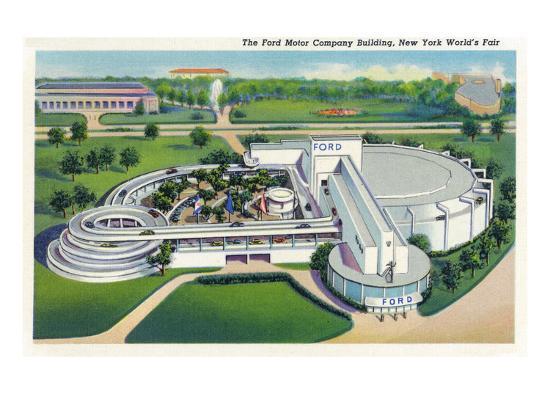 New York, New York - Aerial View of Ford Building at World's Fair-Lantern Press-Art Print