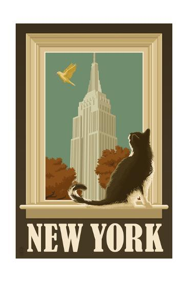 New York, New York - Empire State Buildin and Cat Window-Lantern Press-Art Print