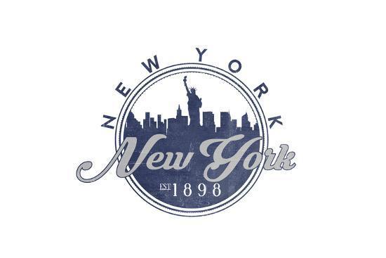 New York, New York - Skyline Seal (Blue)-Lantern Press-Art Print