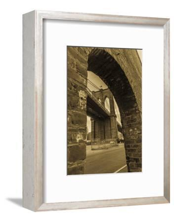 NEW YORK, NEW YORK, USA - Looking up at Manhattan Bridge - Sepia treatment-Panoramic Images-Framed Photographic Print