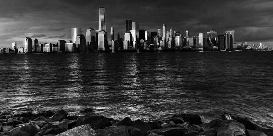 NEW YORK, NEW YORK, USA - New York City Spectacular Sunset in black and white focuses on One Wor...-Panoramic Images-Photographic Print