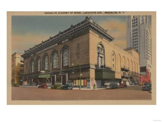 New York, NY - Brooklyn Academy of Music, Lafayette Ave.-Lantern Press-Art Print