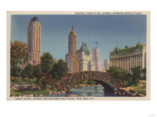 New York, NY - Central Park at 59th Street, Savoy Plaza-Lantern Press-Art Print