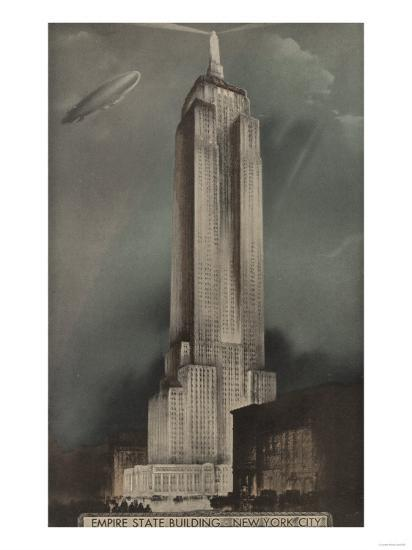 New York, NY - Empire State Building and Blimp-Lantern Press-Art Print