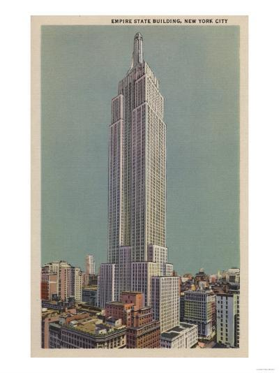 New York, NY - Empire State Building View-Lantern Press-Art Print