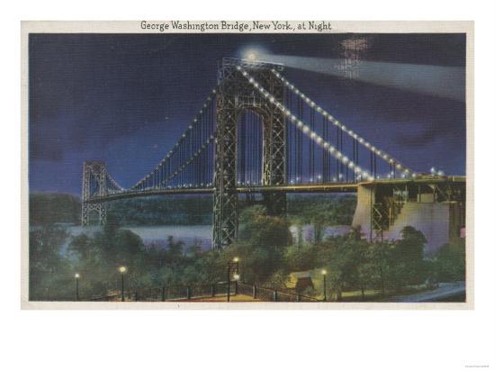 New York, NY - George Washington Bridge At Night-Lantern Press-Art Print