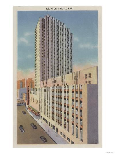 New York, NY - Radio City Music Hall Exterior View-Lantern Press-Art Print
