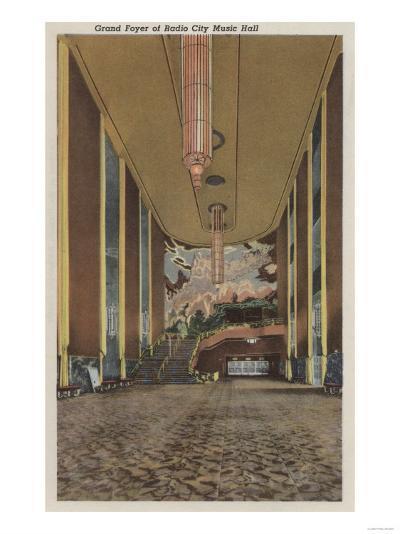 New York, NY - Radio City Music Hall Grand Foyer-Lantern Press-Art Print