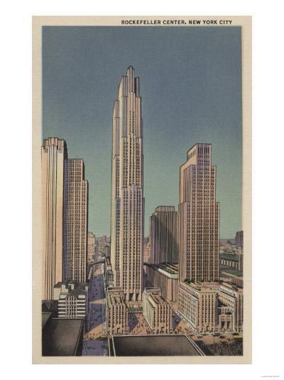 New York, NY - Rockefeller Center View-Lantern Press-Art Print