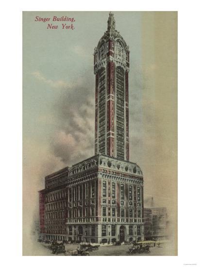 New York, NY - Singer Building, Broadway and Liberty St. No.1-Lantern Press-Art Print