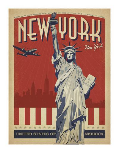 New York, NY (Statue of Liberty)-Anderson Design Group-Art Print